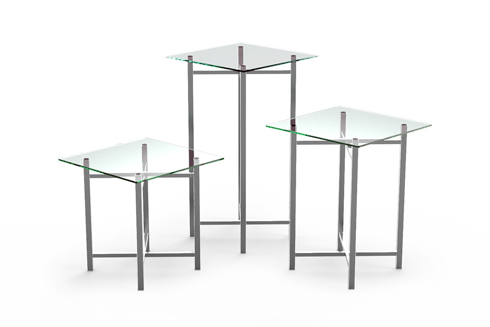 Buffet Table   Stainless Steel Legs, Clear Glass Top, Square U0026 Rectangular  (800 Series)